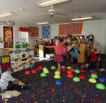 Children playing inside a classroom